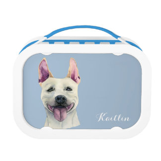 White Staffordshire Bull Terrier Dog Watercolor Lunchboxes
