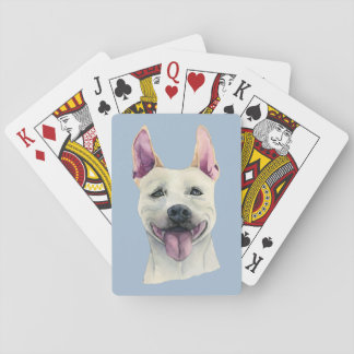White Staffordshire Bull Terrier Dog Watercolor Playing Cards