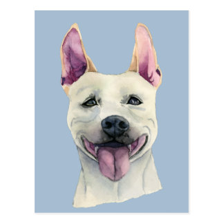 White Staffordshire Bull Terrier Dog Watercolor Postcard