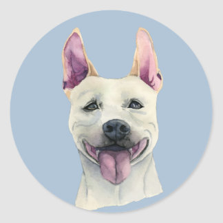 White Staffordshire Bull Terrier Dog Watercolor Round Sticker