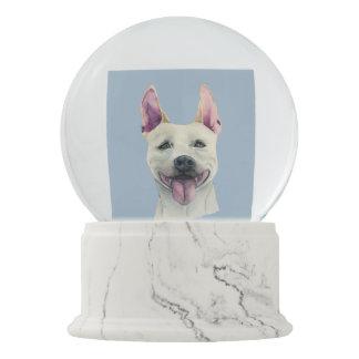 White Staffordshire Bull Terrier Dog Watercolor Snow Globe