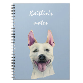White Staffordshire Bull Terrier Dog Watercolor Spiral Note Book