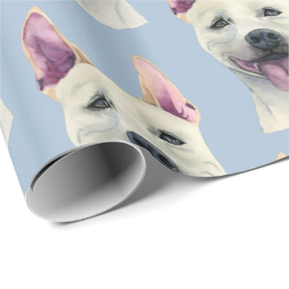 White Staffordshire Bull Terrier Dog Watercolor Wrapping Paper