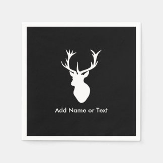 White Stag Head with Antlers Paper Napkins