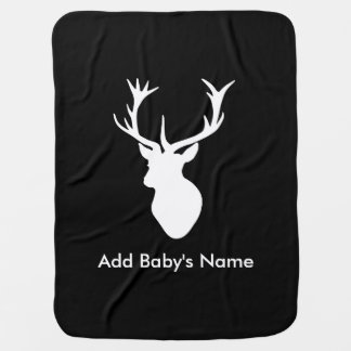 White Stag Head with Antlers Stroller Blanket