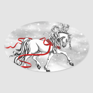 White Stallion Christmas Design Oval Sticker