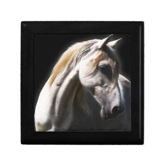 White Stallion Equine Art Tile Gift Box