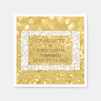 White Standard Paper Napkins Personalised Gold