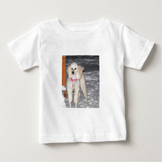 White Standard Poodle in Snow Baby T-Shirt