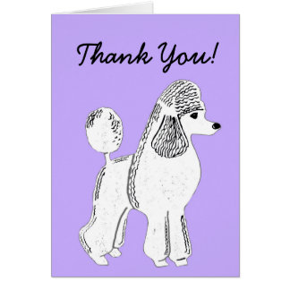 White Standard Poodle Lavender Thank You Card