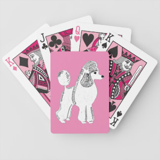 White Standard Poodle Pink Playing Cards