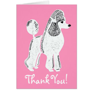 White Standard Poodle Pink Thank You Card