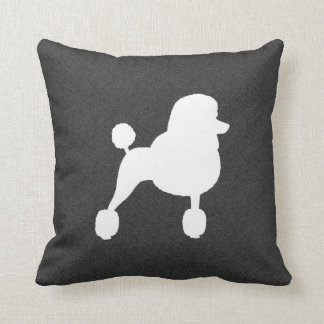 White Standard Poodle Silhouette Throw Pillow