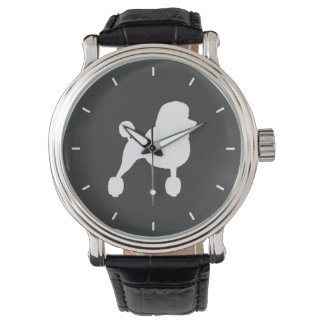 White Standard Poodle Silhouette Wrist Watches