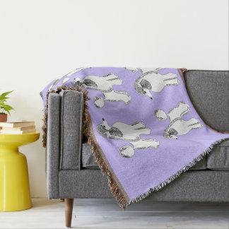 White Standard Poodles Lavender Throw Blanket