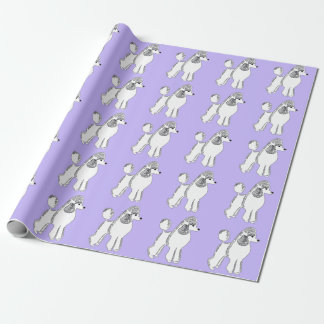 White Standard Poodles Lilac Wrapping Paper
