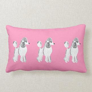 White Standard Poodles Pink Lumbar Pillow