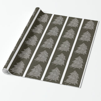 White star Christmas trees on black wrapping paper