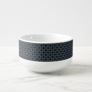 White Star Circles Retro Pattern on Dark Blue Soup Bowl With Handle
