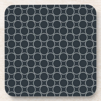 White Star Circles Vintage Pattern On Dark Blue Coaster
