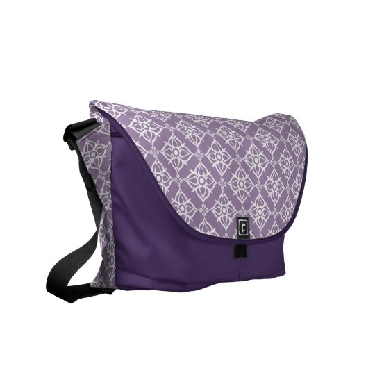 White Star Damask on East Side Violet Commuter Bags