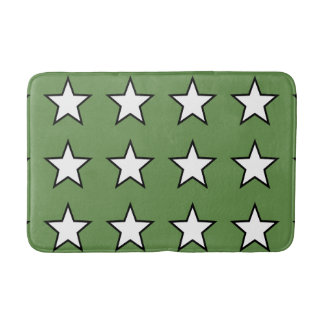 White Star Green Medium Bath Mat