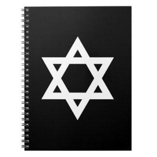White Star of David Spiral Notebook