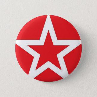 White Star on Red - Button