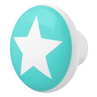 White star turquoise aqua blue ceramic knob