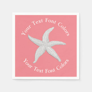 White Starfish Curved Text Your Colors Paper Napkin