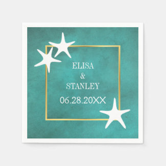 White starfish on teal stained beach wedding paper napkin