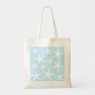 White Starfish Pattern on Light Blue. Budget Tote Bag