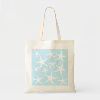 White Starfish Pattern on Light Blue. Budget Tote Bag