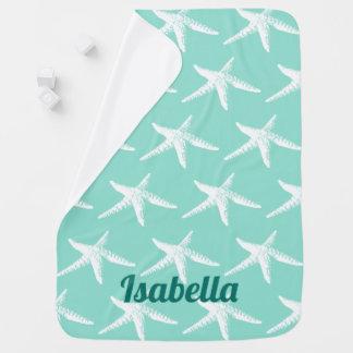 White Starfish & Sea Green Baby's Name Baby Blanket