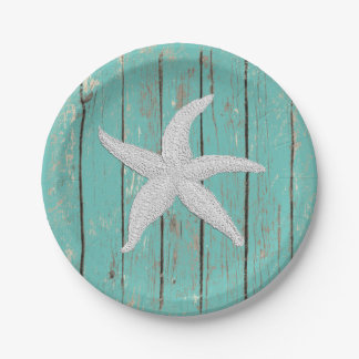 White Starfish Your Color Wood Personalize 7 Inch Paper Plate