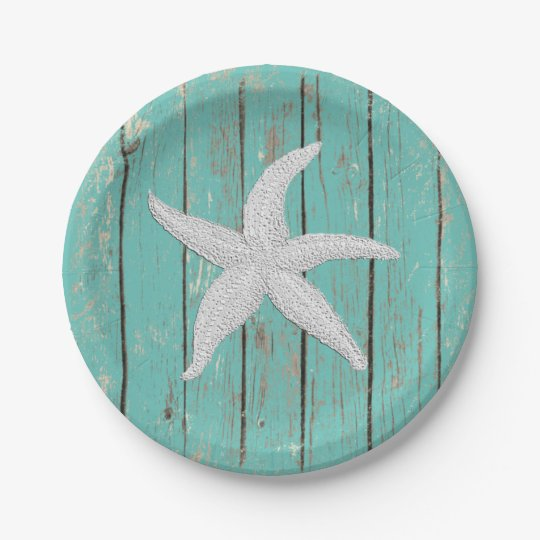 White Starfish Your Colour Wood Personalize Paper Plate