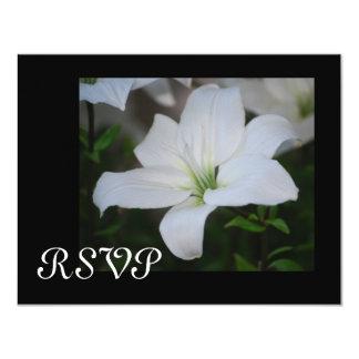 "White Stargazer Lily RSVP Cards 4.25"" X 5.5"" Invitation Card"