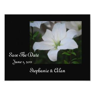 White Stargazer Lily Save The Date Personalized Invite