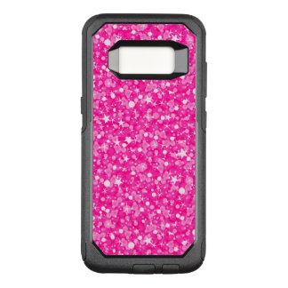 White Stars And Hot Pink Glitter OtterBox Commuter Samsung Galaxy S8 Case