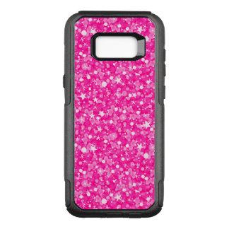 White Stars And Hot Pink Glitter Pattern OtterBox Commuter Samsung Galaxy S8+ Case