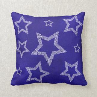 White Stars Blue Accent Throw Pillow