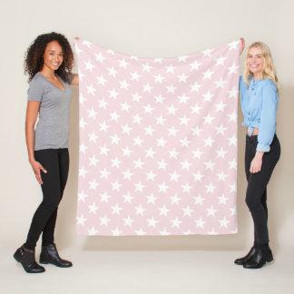 White Stars Light Rose Color Modern Chic Patterns Fleece Blanket