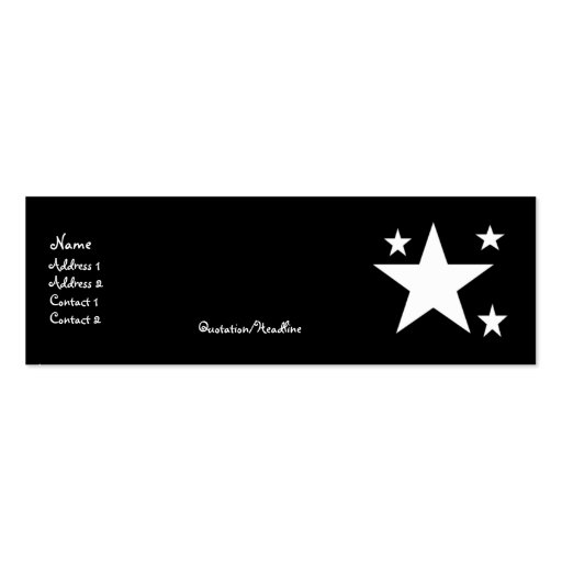 White Stars on Black Profile Cards Business Card Templates