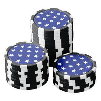 White stars on blue background poker chips