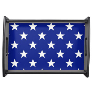 White stars on blue background serving tray