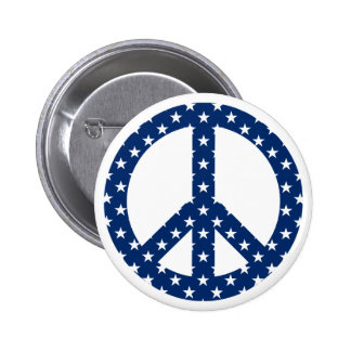White Stars on Blue Peace Symbol 2 Inch Round Button