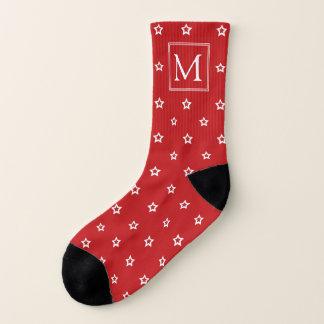 White Stars on Bright Red Monogrammed Socks