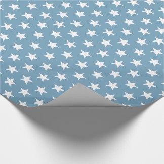 White Stars on Carolina Blue Wrapping Paper