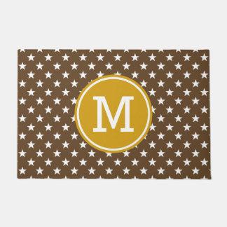White Stars on Chocolate with Mustard Monogram Doormat