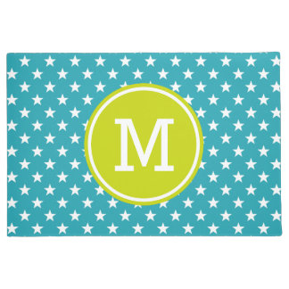 White Stars on Ocean Blue with Lime Green Monogram Doormat